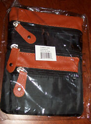 Cross Body Purse water-resistant fabric Black w faux leather tan trim New