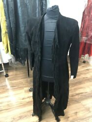 Old West Style Womenand039s Trenchcoat W/fringe Black Large Suede Leather 189 Retail