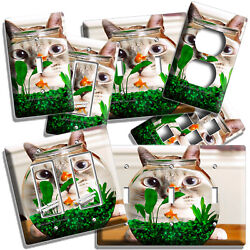 Funny Cat Watching Gold Fish Aquarium Light Switch Outlet Wall Plates Room Decor