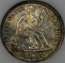 1885 Seated Liberty Dime Anacs Ms-64 With Awesome Tone