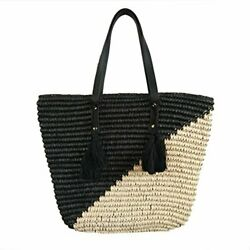 Straw Beach Tote Shoulder Bag Womens Large - Washable Lining (Black Natural)
