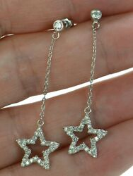 Solid 925 Sterling Silver Clear Cz Shooting Star Chain Earrings .
