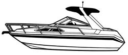 7oz STYLED TO FIT BOAT COVER HIGH PROFILE CABIN CRUISER WRADAR ARCH 29'6