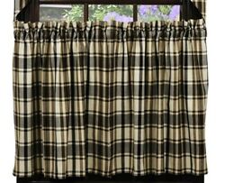Country Rustic Cabin Farmhouse Moss Woods Green Cream Brown Plaid Tier Curtains