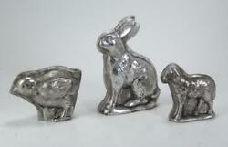 Decorative Mini Chick Bunny Sheep Embossed Faux Candy Molds Silver Antique Style