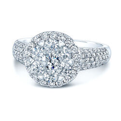 14k White Gold Diamond Ring Halo Illusion Solitaire Cluster Pave Shank Round Cut