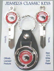 Mercury Red Cougar Deluxe Classic White Gold Keys Set 1973 1974 1975 1976 1977