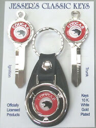 Mercury Red Cougar Deluxe Classic White Gold Keys Set 1978 1979 1980 1981 1982