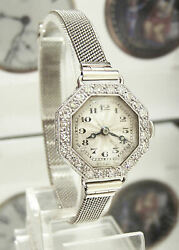 20's Antique Vintage Solid Platinum And Diamond Art Deco Watch Gold Band Serviced