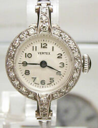 Antique Vintage 1950's Vertex Revue Solid Platinum And Diamond Watch And Gold Band