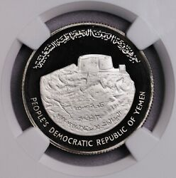Ngc-pf67uc 1977 Dem Yemen 5dinars Independence Silver Proof With Case