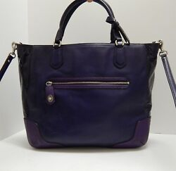 Coach Blaire Poppy Color Block Two Tone Purple Leather 2 Way Crossbody Tote Bag $129.99