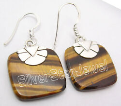 925 Sterling Silver Collectible Square Brown Tigerand039s Eye Nice Earrings 1.3