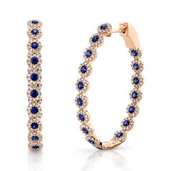 2.69ct 14k Rose Gold Natural Blue Sapphire Diamond Inside Out Oval Hoop Earrings