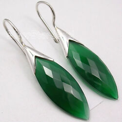 925 Sterling Silver Green Onyx Stunning Dangle Earrings 1.7 Collectible