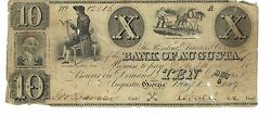 10 1849 Georgia Augusta Bank Issued Signed Cut Cancel Obsolete Currency 12015