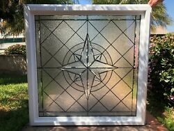 Framed And Insulated Beveled Leaded Stained Glass Window Tempered
