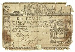 1771 Colonial Currency New York 1 Pound February 16, Fr Ny163 Very Rare Gift