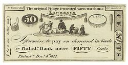 1814 Fifty Cents War Of 1812 Hard Times 50c Currency Note Engraved By W Kneass