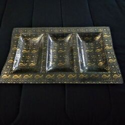Georges Briard Gold Painted Serving Tray 3 Section In Immaculate Condition