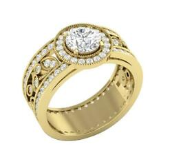 Halo Solitaire Engagement Ring I1 G 2.50ct Real Diamond 14k Gold Prong Bezel Set
