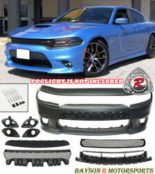 Srt-8 Hellcat Style Front Bumper W/ Grill W/ Fog Covers Fit 15-21 Dodge Charger