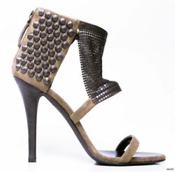 Giuseppe Zanotti For Balmain Taupe Suede Studded Chain Mesh Shoes Hot New 1195