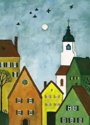 ACEO PRINT OF PAINTING RYTA ABSTRACT FOLK ART BLACK CAT HOUSES TREES LANDSCAPE