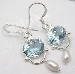 925 Solid Silver Amazing Blue Topaz Earrings 1.5 Collectible Jewellery