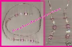 Beaded Bookmark Thong #11 Pink amp; Silver Beads 16 inches NEW
