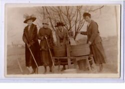 Real Photo Postcard Rppc - Women In Hats And Coats Sweeping And Doing Laundry
