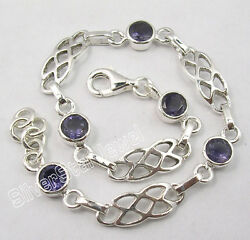 925 Pure Silver Collectible Iolite Gemset Extra Ordinary Cast Bracelet 7.7