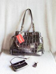 Nwt Dooney And Bourke Croco Leather Tassel Bag W/ Wristlet And Key Ringblksave273