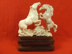 Horse-3 Wild Pr Horses Of Shed Antler Figurine Bali Detailed Carving Stallions