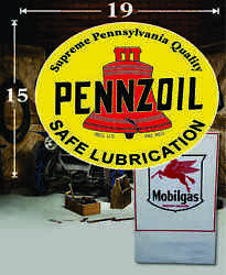 19 X 15 Pennzoil Vintage Shield Gas Vinyl Decal Lubester Oil Pump Can Lubster