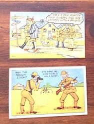 2 Antique World War 2 Wwii Comic Post Cards - 1943