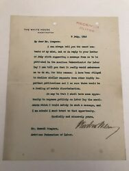Woodrow Wilson 1918 Typed Letter Signed As President - To Samuel Gompers