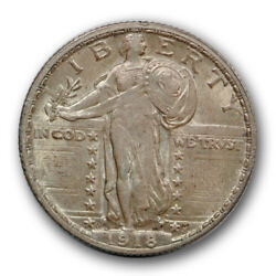 1918-d 25c Standing Liberty Quarter About Uncirculated Au Full Head Fh R525