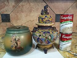 Antique Moriage Hand Painted Humidor Foo Dog Bat Wing Stoneware Pottery