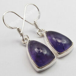 925 Sterling Silver Cabochon Amethyst Dangle Earrings Collectible Art Jewelry