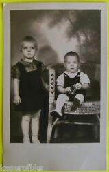Young Girl And Toddler Brother Hold Lucky Strike Cigarette Pack Vintage 1940 Photo