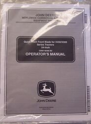 John Deere Operator's Manual Quick-hitch Front Blade For X400/x500 Omm146400 B2