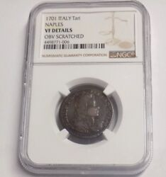 1701 Italy Tari Naples Vf Details Obv Scratched Rare Italian Ngc Certified Coin