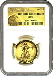 2009 Ultra High Relief $20 NGC MS70 - Very Popular Issue - UHR Double Eagle Gold