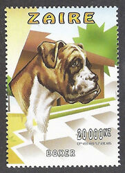 WOW Dog Art Head Study Portrait Postage Stamp UnCropped BOXER Zaire Congo MNH