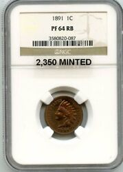 C11231- 1891 Proof Indian Head Cent Ngc Pr64 Rb - 2350 Minted
