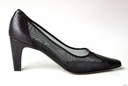 PREVATA black leather mesh shoes Italy 'Salute' - classic design new $350  $69.99