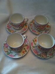 Royal Doulton Expressions Blooms 4 Cups And Saucer Sets Pretty Floral Pattern