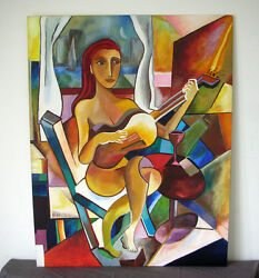 Large Oil Painting Nude Girl Playing A Guitar Unsigned Cubism