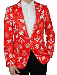 Suslo Couture Holiday Christmas Bells Blazer Sport Coat Ugly Sweater M L Xl Xxl